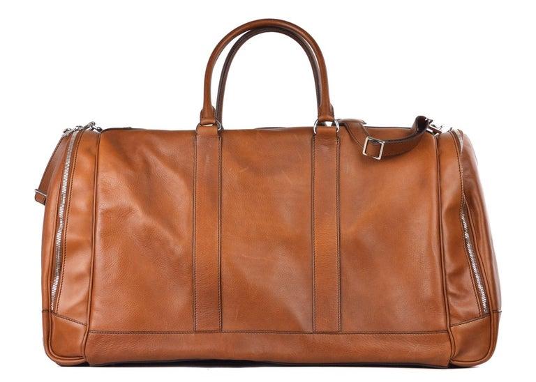 Women's or Men's Brunello Cucinelli Men's Brown Leather Travel Fold Up Garment Bag For Sale