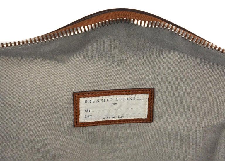 Brunello Cucinelli Men's Brown Leather Travel Fold Up Garment Bag For Sale 1
