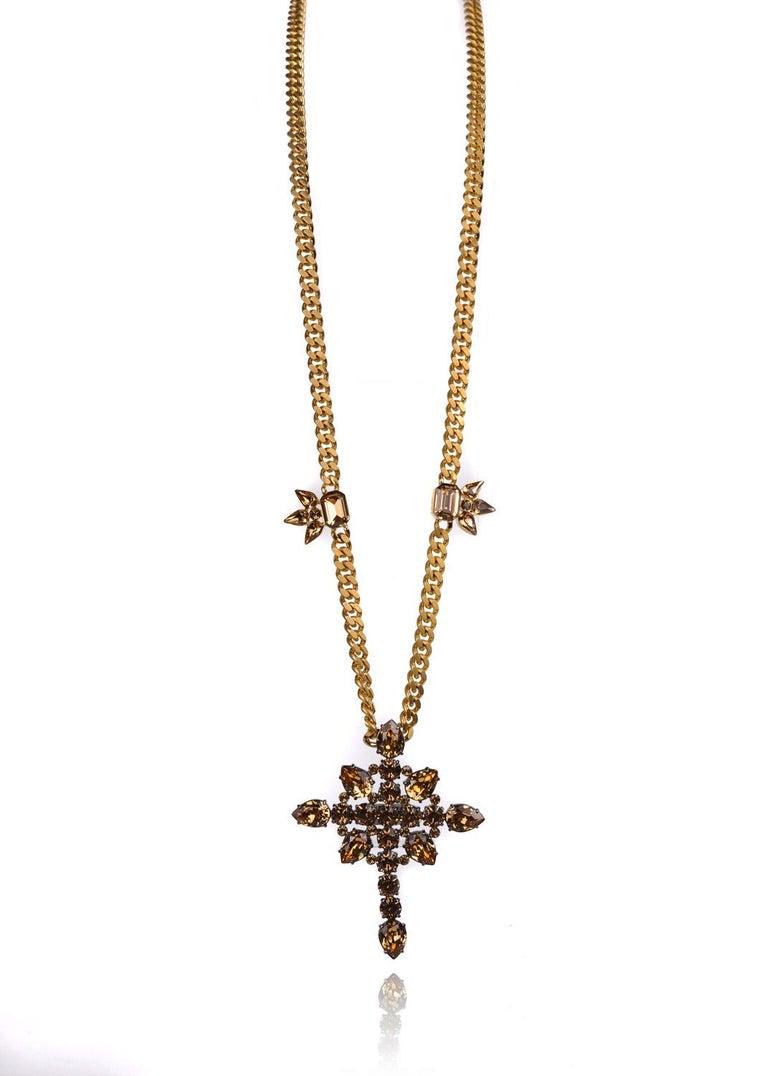 Roberto cavalli gold brown swarovski cross pendant cuban curb modern roberto cavalli gold brown swarovski cross pendant cuban curb necklace for sale aloadofball Choice Image