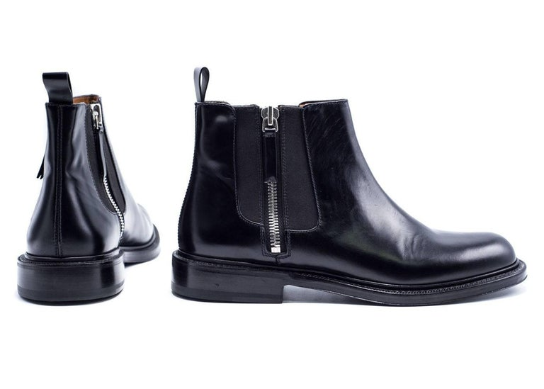 Women's or Men's Givenchy Mens Black Leather Double Zip Detail Ankle Boots For Sale