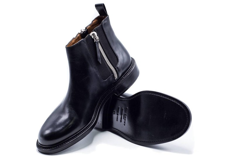 Givenchy Mens Black Leather Double Zip Detail Ankle Boots For Sale 1