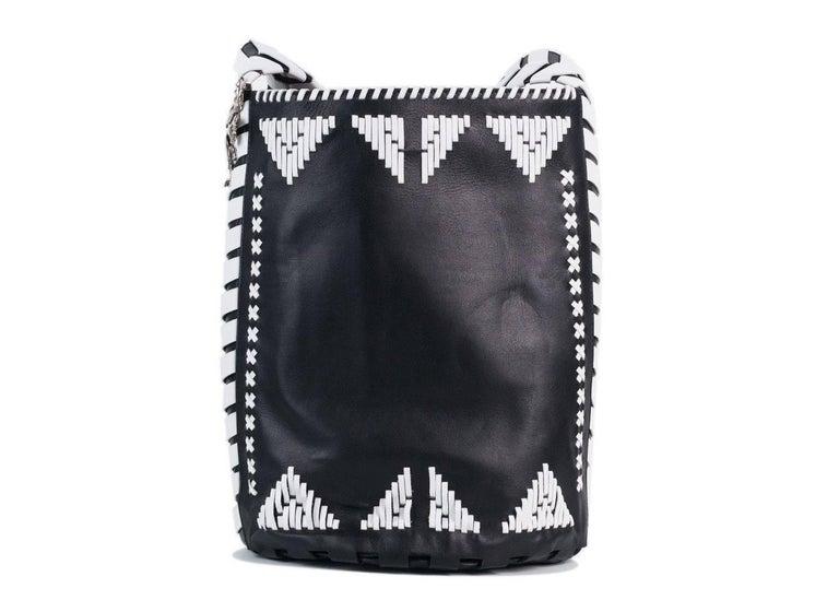 Roberto Cavalli Womens Black Leather White Tribal Stitched Hobo Bag 5