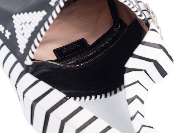 Roberto Cavalli Womens Black Leather White Tribal Stitched Hobo Bag 2