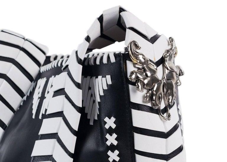Roberto Cavalli Womens Black Leather White Tribal Stitched Hobo Bag 4
