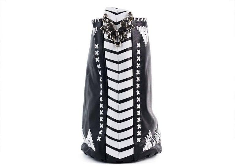 Roberto Cavalli Womens Black Leather White Tribal Stitched Hobo Bag 3