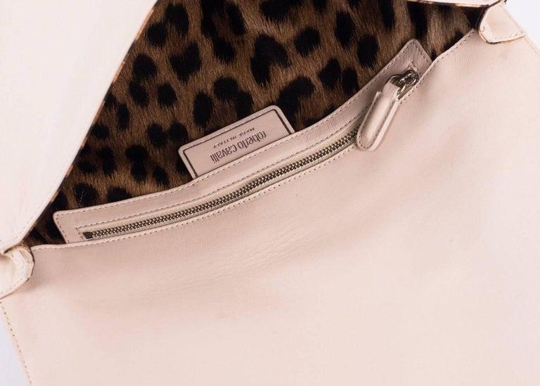 Roberto Cavalli Beige Leather Embellished Front Flap Shoulder Bag For Sale 1