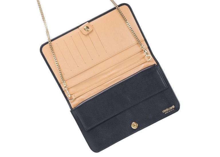 Roberto Cavalli Women S Black Leather Wallet Crossbody Bag In New Condition For Brooklyn