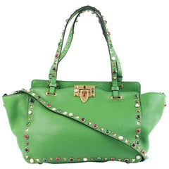 Valentino Women's Leather Tricolor Rockstud Green Tote Bag