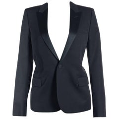 Saint Laurent Womens Black One Button Wool Tuxedo Jacket