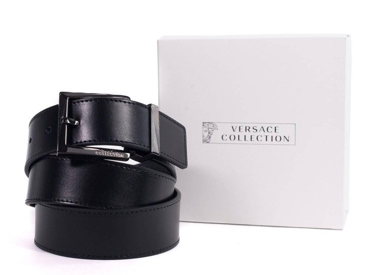 Brand New Versace Collection Belt Original Tags Retails in Stores & Online for $450 One Size Fits All  Versace Collection's black leather belt made with 100% calfskin leather featuring a silver plated logo with versace collections logo on the bottom