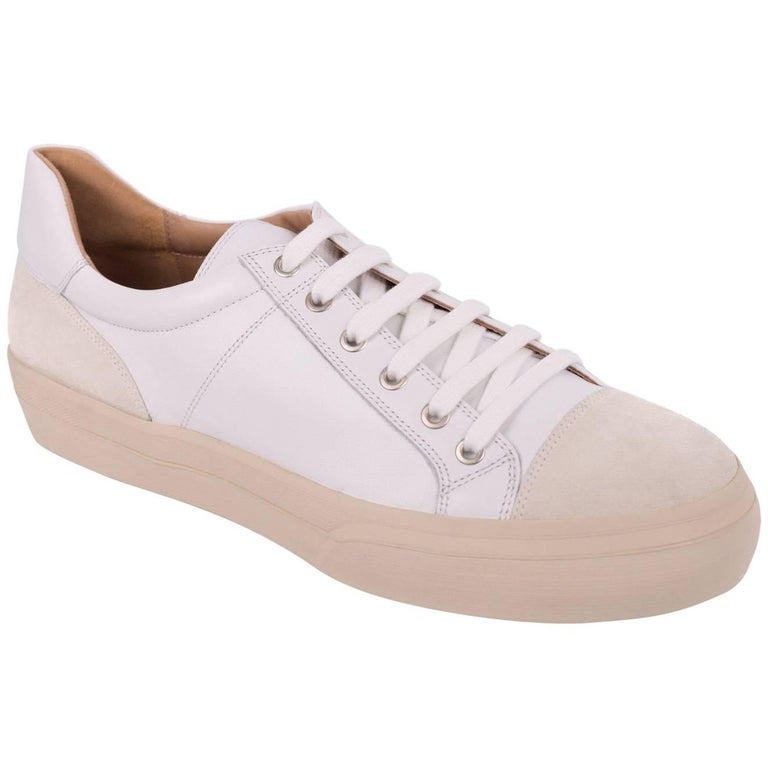 Dries Van Noten Men's White Leather Low Top Cap Toe Sneakers