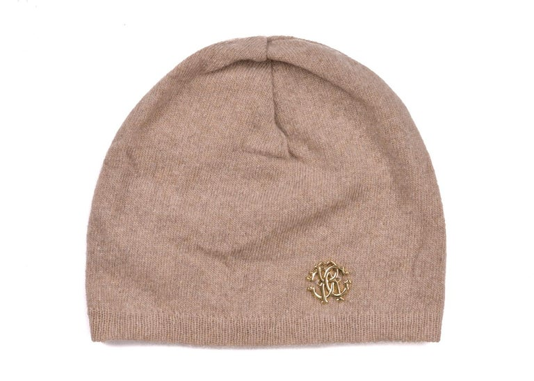 Roberto Cavalli Womens Light Brown Thin Knit Cashmere Hat In New Condition For Sale In Brooklyn, NY