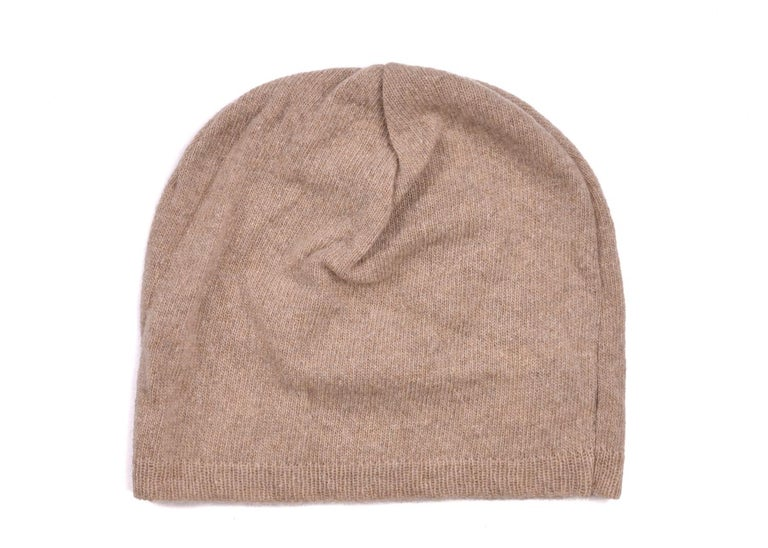Women's Roberto Cavalli Womens Light Brown Thin Knit Cashmere Hat For Sale
