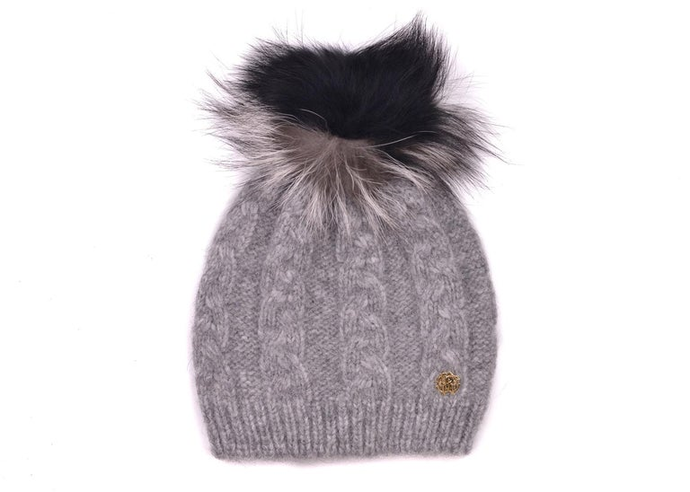 Gray Roberto Cavalli Womens Grey Alpaca Cable Knit Fox Fur Hat For Sale