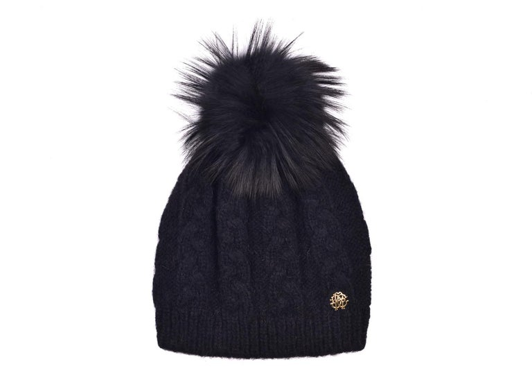 Roberto Cavalli Womens Black Alpaca Cable Knit Fox Fur Hat In New Condition For Sale In Brooklyn, NY