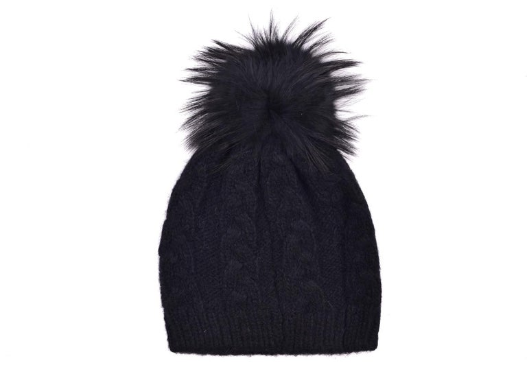 Women's Roberto Cavalli Womens Black Alpaca Cable Knit Fox Fur Hat For Sale
