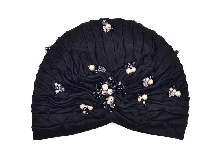 Women's Roberto Cavalli Women Black Pearled Stone Applique Tiered Turban For Sale