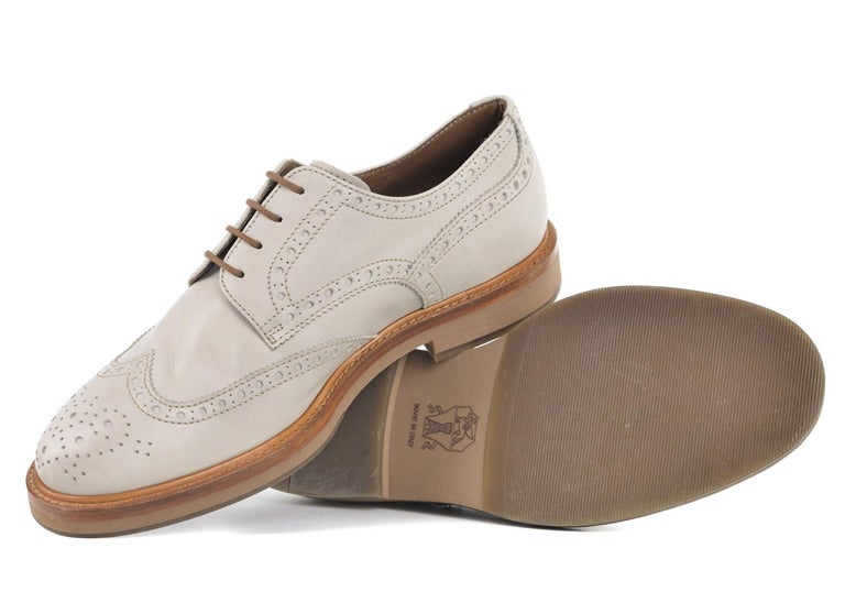 a14caeaade93d Men s Brunello Cucinelli Men Grey Weathered Leather Wing Tip Oxford For Sale