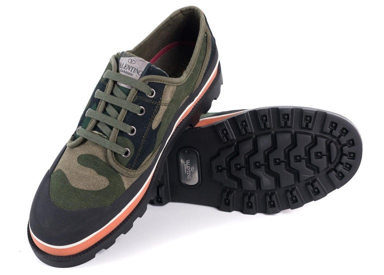 6d8b70ab830 Black Valentino Mens Green Camouflage Canvas ID Low Top Sneakers For Sale