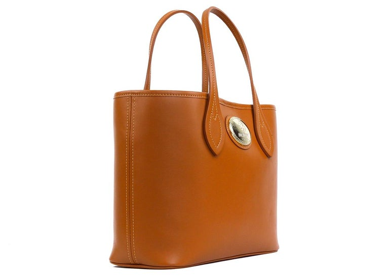 Roberto Cavalli Firenze Cognac Brown Small Leather Shopping Tote Bag In New Condition For Sale In Brooklyn, NY