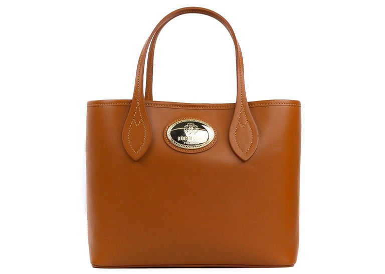 Women's Roberto Cavalli Firenze Cognac Brown Small Leather Shopping Tote Bag For Sale