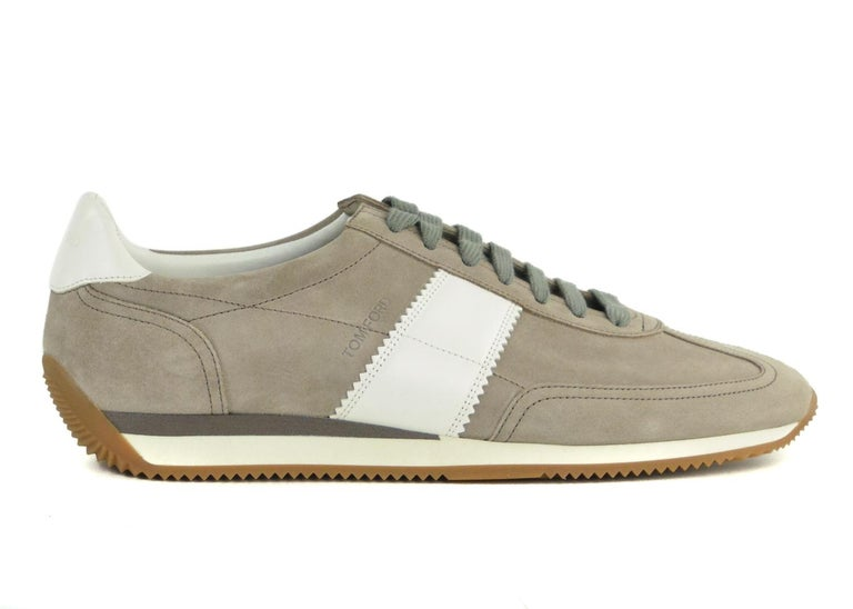 Tom Ford Men's Grey Orford Suede Trainer Sneakers In New Condition For Sale In Brooklyn, NY