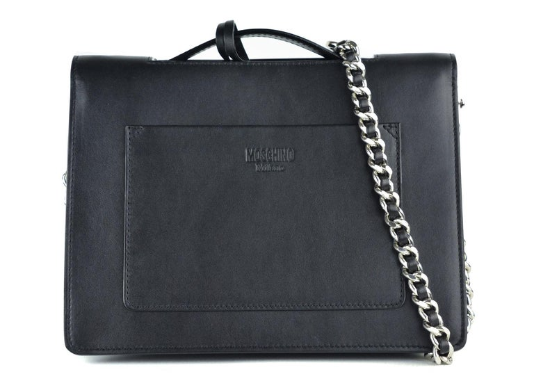 Moschino Womens Black Leather Logo Flap Shoulder Bag For Sale at 1stdibs b957d65286b23