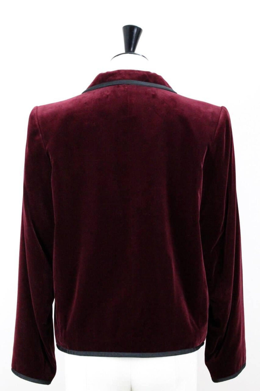 c5fcf4f9acd Yves Saint Laurent Vintage Burgundy Red Velvet Blazer Jacket with Ribbon  Trim at 1stdibs