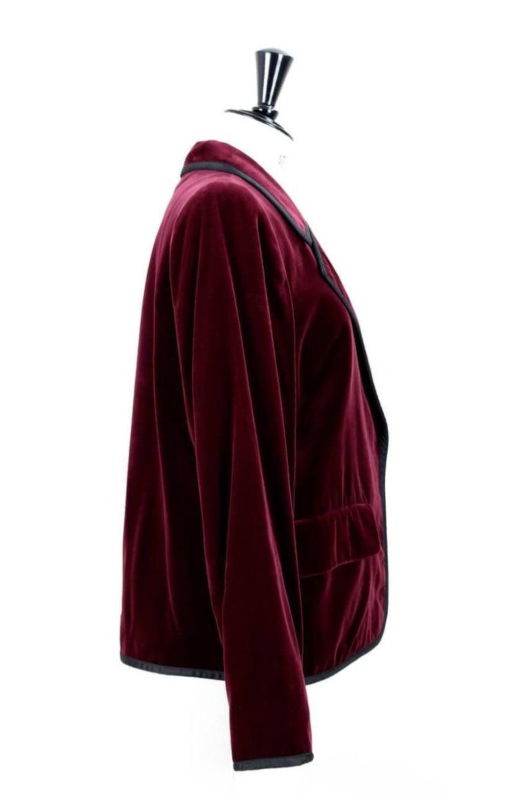 6ab8aa3f645 Black Yves Saint Laurent Vintage Burgundy Red Velvet Blazer Jacket with Ribbon  Trim For Sale