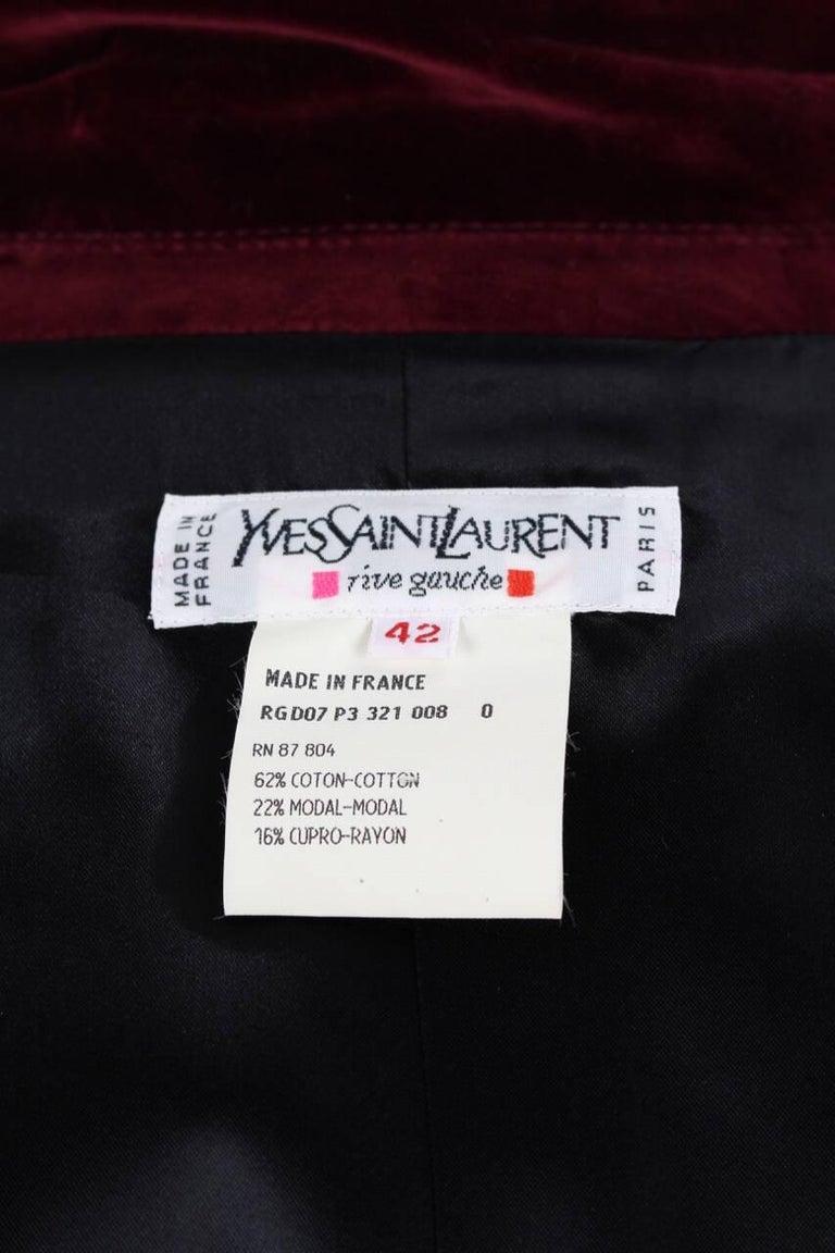 db5e641dae8 Yves Saint Laurent Vintage Burgundy Red Velvet Blazer Jacket with Ribbon  Trim For Sale 1