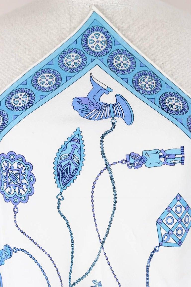 Blue Emilio Pucci 1970s Rare African Design Print Silk Scarf For Sale