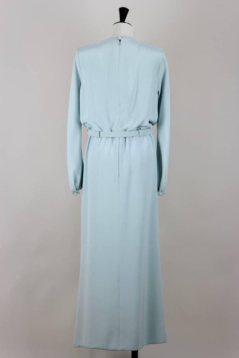 Yves Saint Laurent Numbered Haute Couture Light Blue Silk Evening Dress, 1980s  2