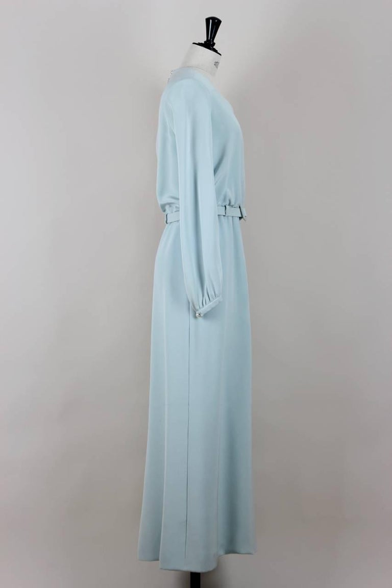 Yves Saint Laurent Numbered Haute Couture Light Blue Silk Evening Dress, 1980s  3