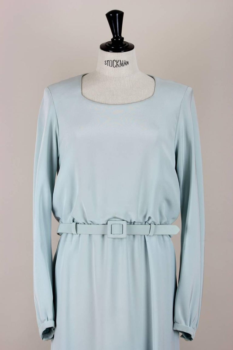 Yves Saint Laurent Numbered Haute Couture Light Blue Silk Evening Dress, 1980s  4