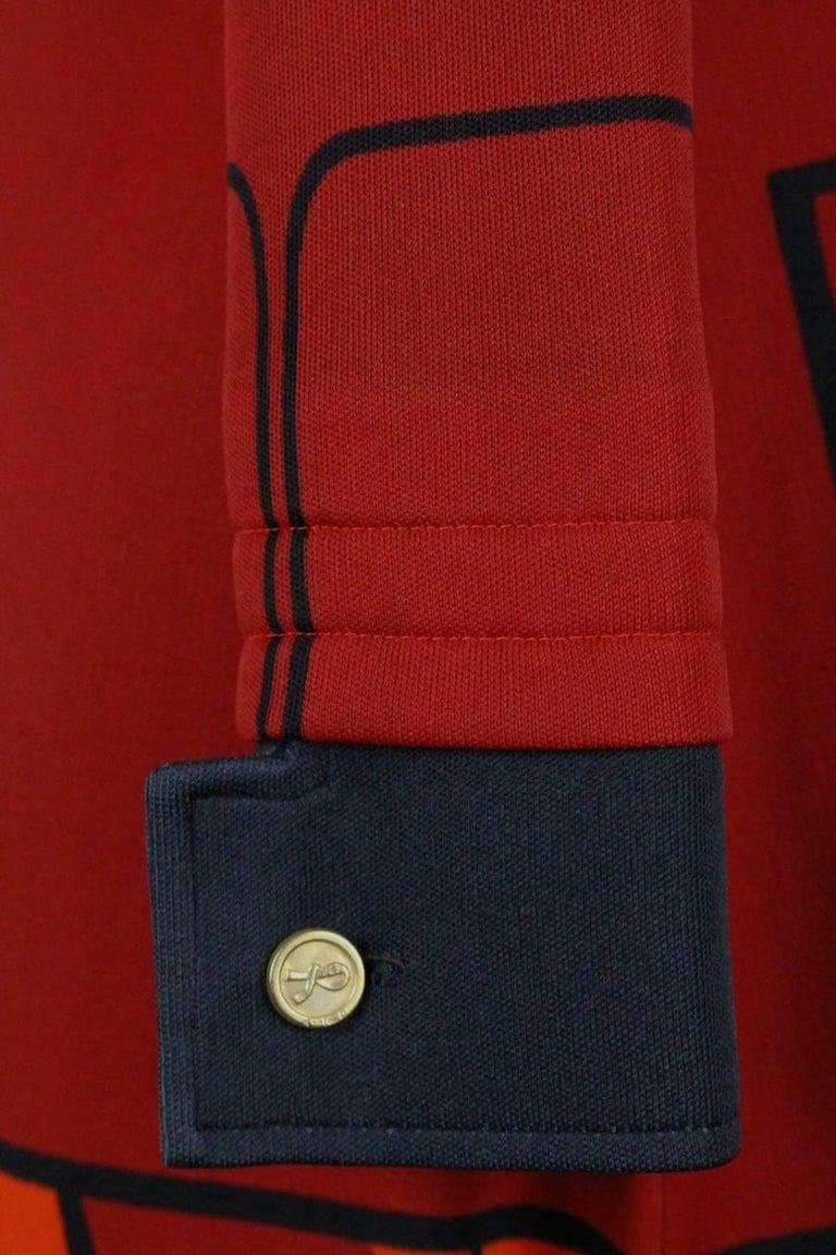 Roberta di Camerino Red Orange Jersey Trompe l'Oeil Print Maxi Dress, 1970s  For Sale 3