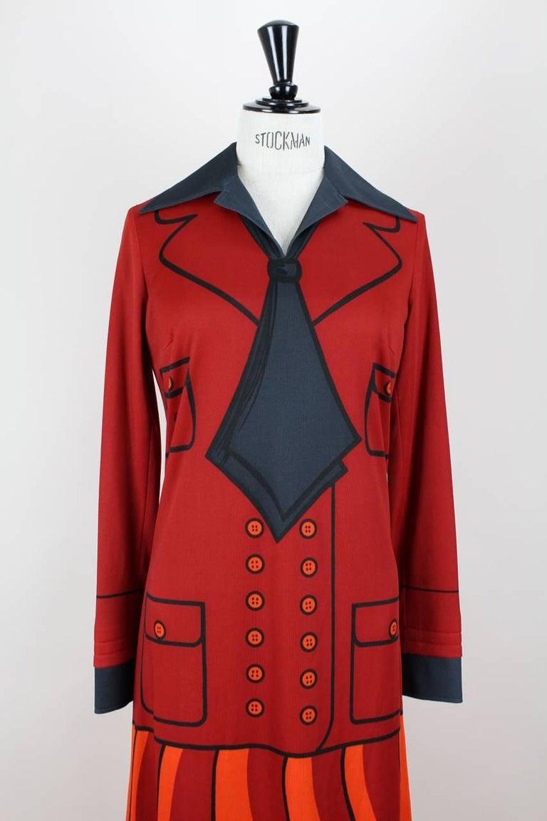 Women's Roberta di Camerino Red Orange Jersey Trompe l'Oeil Print Maxi Dress, 1970s  For Sale