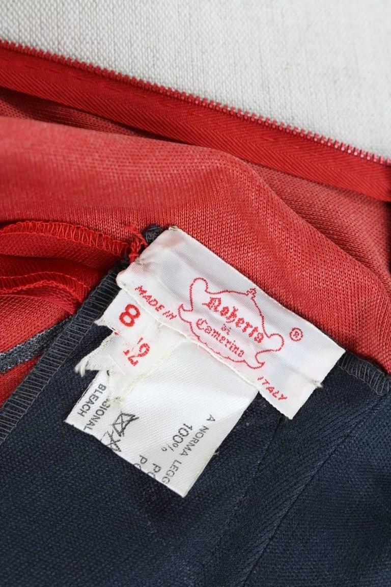Roberta di Camerino Red Orange Jersey Trompe l'Oeil Print Maxi Dress, 1970s  For Sale 5