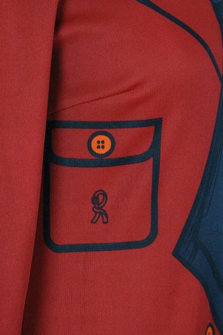 Roberta di Camerino Red Orange Jersey Trompe l'Oeil Print Maxi Dress, 1970s  For Sale 2