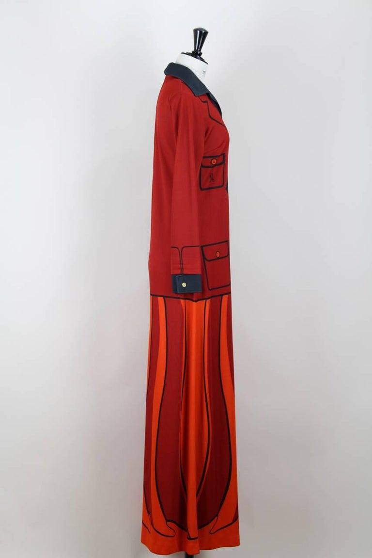 Roberta di Camerino Red Orange Jersey Trompe l'Oeil Print Maxi Dress, 1970s  In New Condition For Sale In Munich, DE