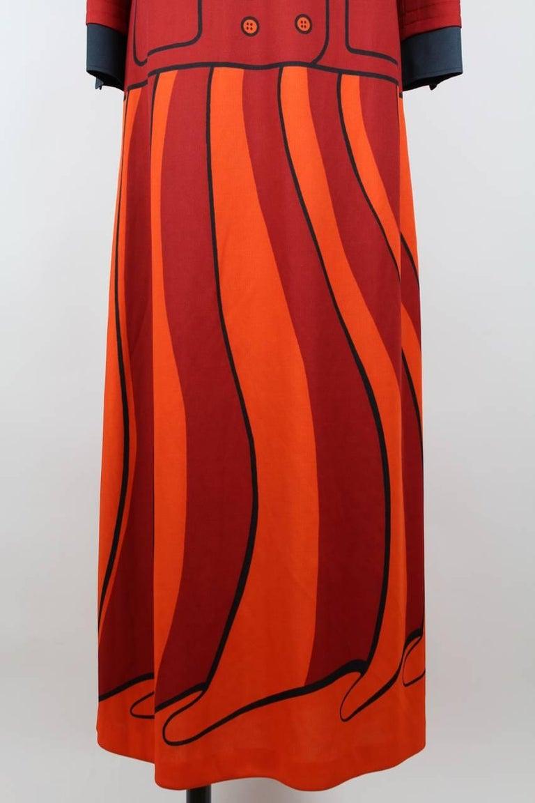 Roberta di Camerino Red Orange Jersey Trompe l'Oeil Print Maxi Dress, 1970s  For Sale 1