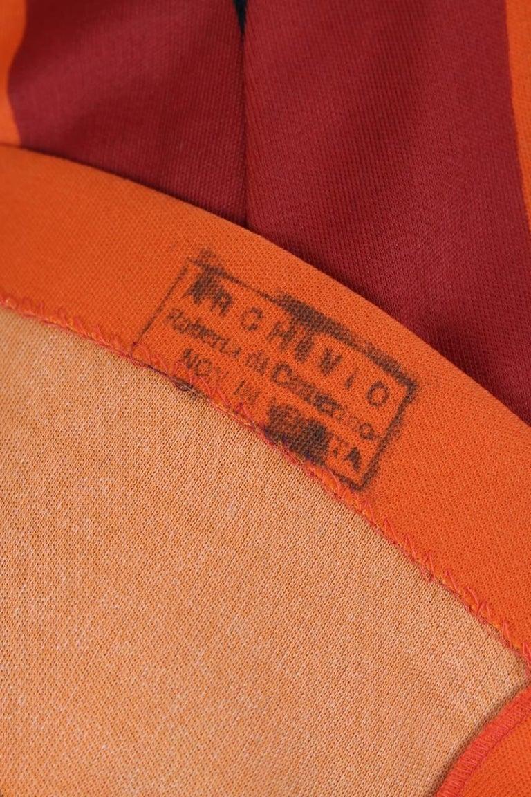 Roberta di Camerino Red Orange Jersey Trompe l'Oeil Print Maxi Dress, 1970s  For Sale 4