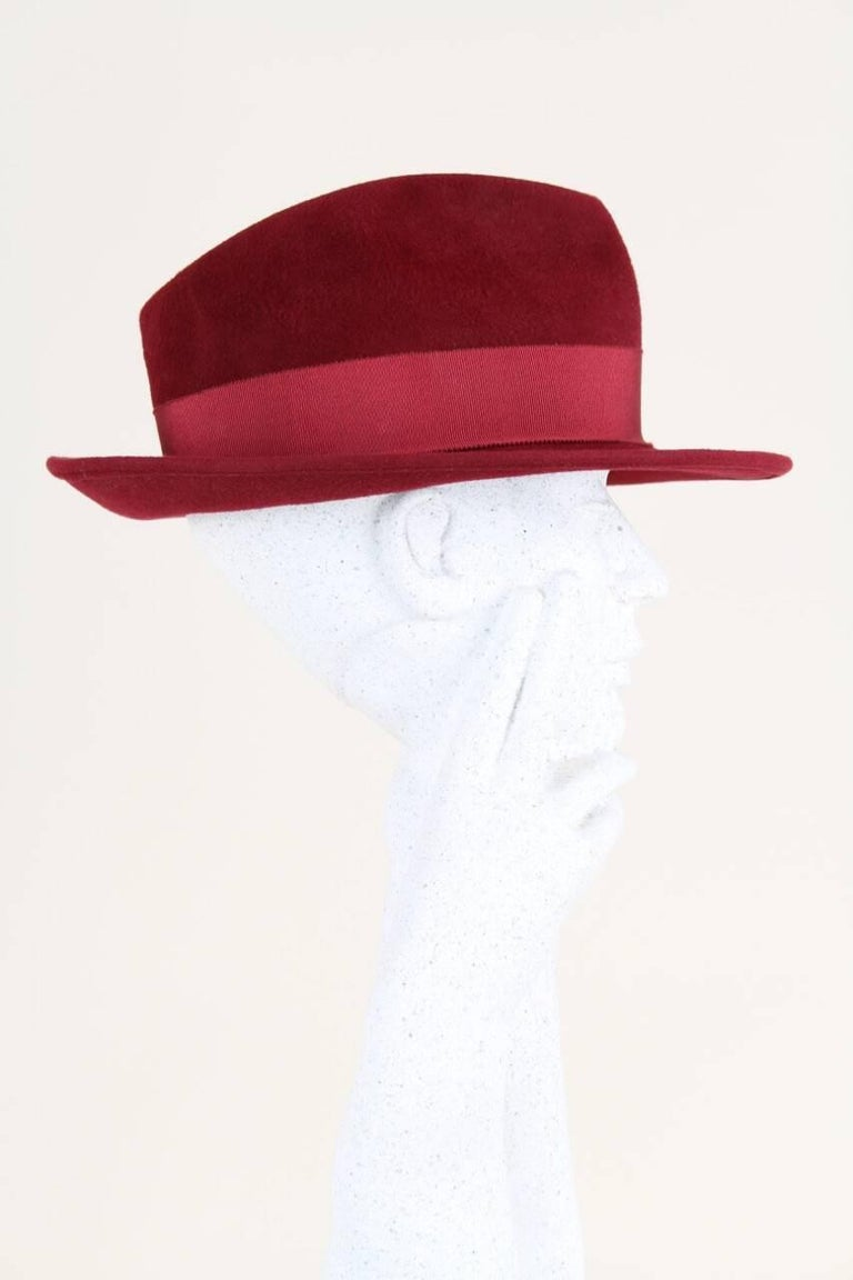Jean Paul Gaultier 1990s Wine Red Rabbit Felt Fedora Hat
