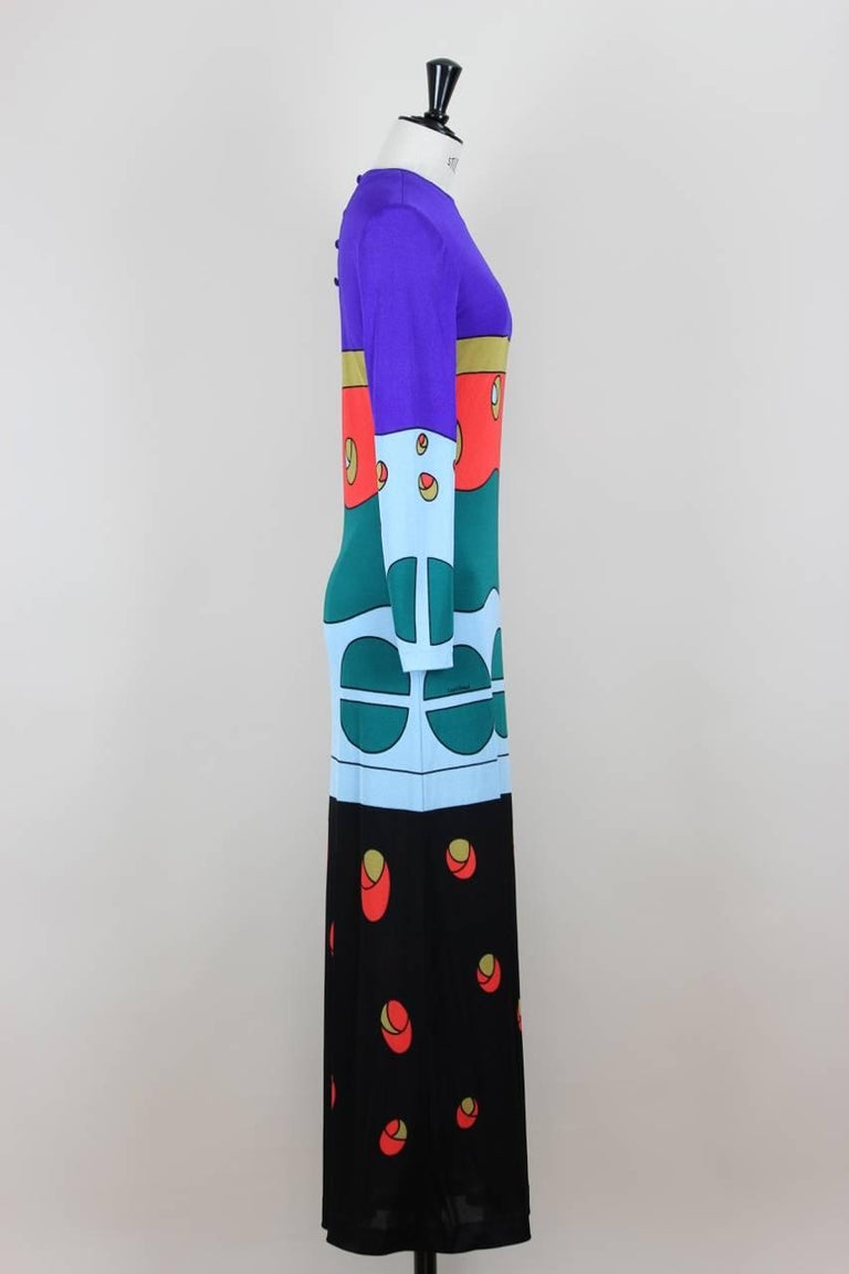 Louis Féraud Jersey Mod Maxi Dress With Matching Scarf, 1970s  In Excellent Condition For Sale In Munich, DE