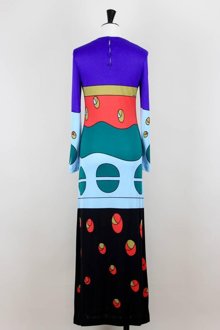 Purple Louis Féraud Jersey Mod Maxi Dress With Matching Scarf, 1970s  For Sale