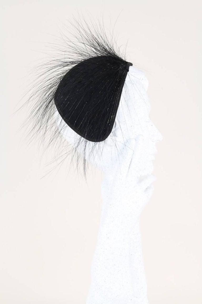 Custom Made Egret Feathers Adorned Black Felt Cocktail Half Hat ... 76fda8bcebe