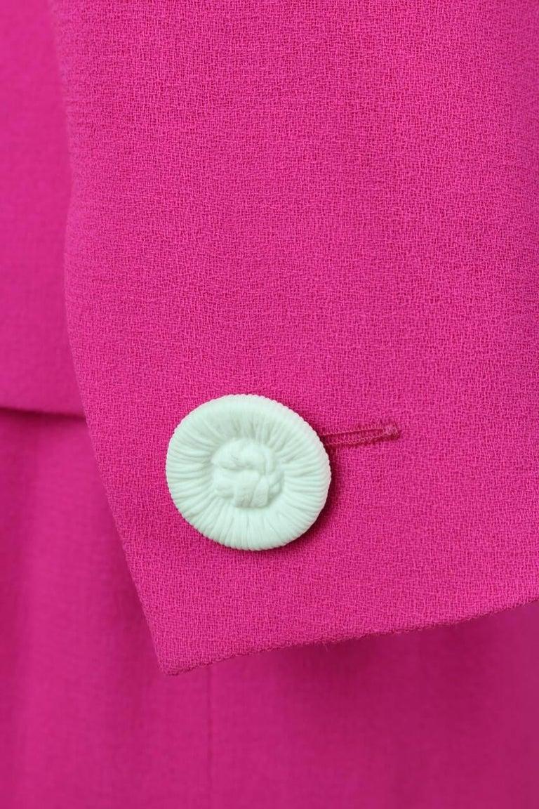 Yves Saint Laurent YSL Pink Passementerie Tassel Jacket And Skirt Suit, 1990s For Sale 4