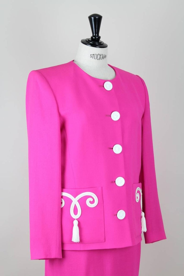 Women's Yves Saint Laurent YSL Pink Passementerie Tassel Jacket And Skirt Suit, 1990s For Sale