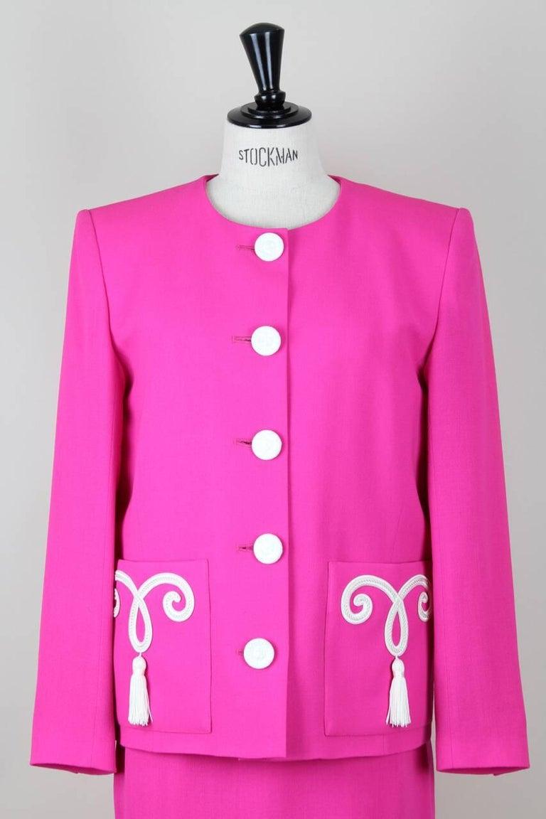 Yves Saint Laurent YSL Pink Passementerie Tassel Jacket And Skirt Suit, 1990s For Sale 1