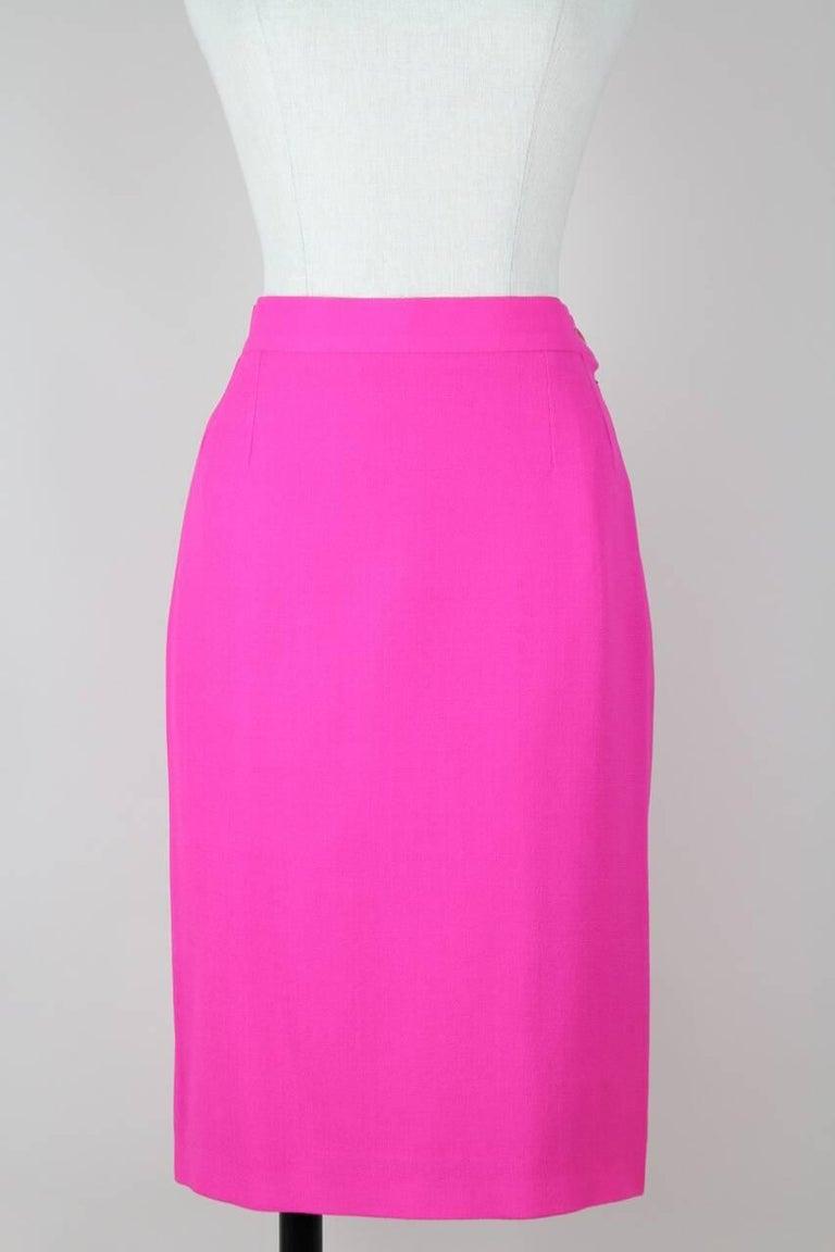 Yves Saint Laurent YSL Pink Passementerie Tassel Jacket And Skirt Suit, 1990s For Sale 2