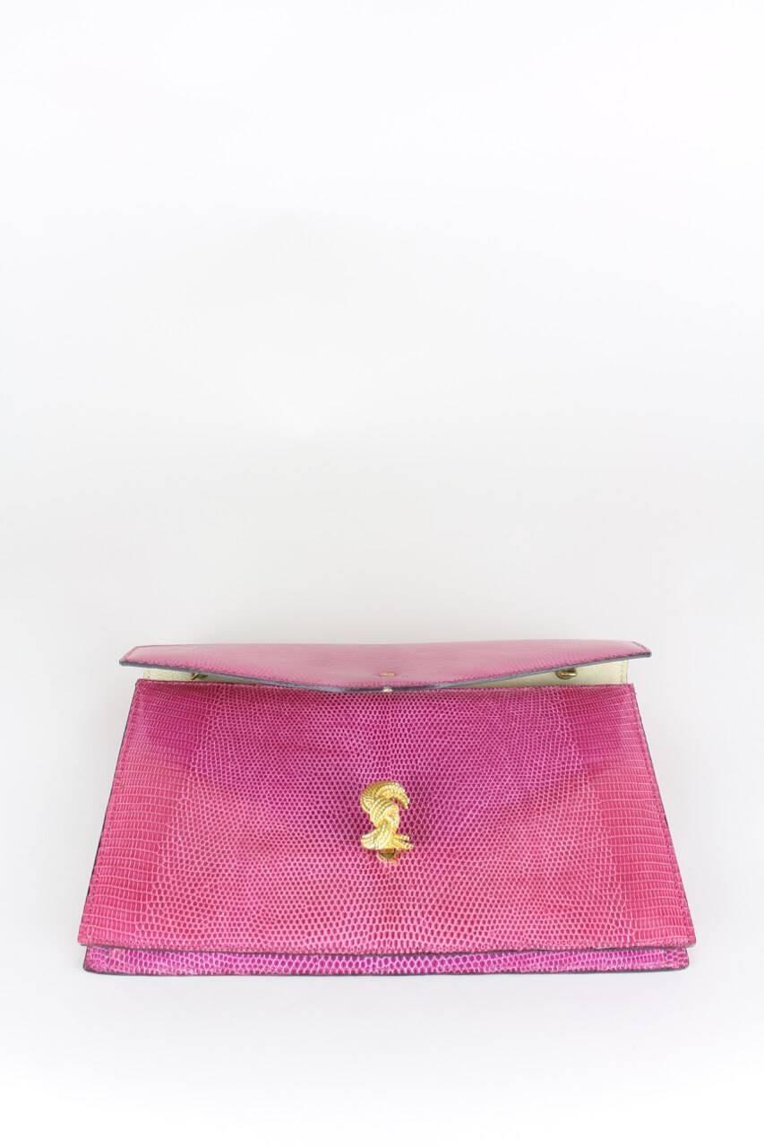 Asprey Asprey Pink Lizard Clutch With Gold Hardware And Optional Strap GITb9NG